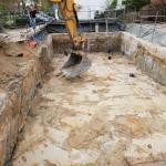 Eerste ontgraving t.b.v. aanbrengen stempelraam