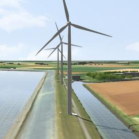 Impressie van de drie windturbines op de Oostpolderdijk