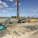 Productie CSM-panelen als grondverbetering onder de windturbine