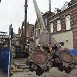 Aanvoeren CSM-materieel in centrum van Den Bosch