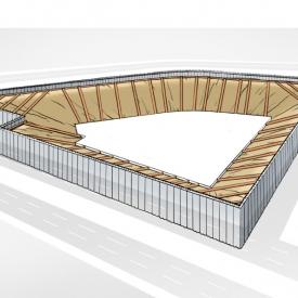 Inbouwen stempelconstructie tussen de CSM-wanden en de betonnen kern