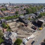 Luchtfoto van ontgraving bouwkuip de Vierhoek - Haarlem