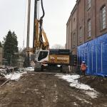 Productie CSM-wanden tussen twee gevoelige gebouwen