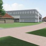 Impressie van het nieuwe lesgebouw op de KWIII kazerne